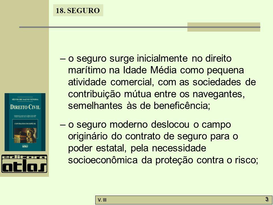 18. SEGURO V. III 3 3 – o seguro surge inicialmente no direito marítimo na Idade Média como pequena atividade comercial, com as sociedades de contribu