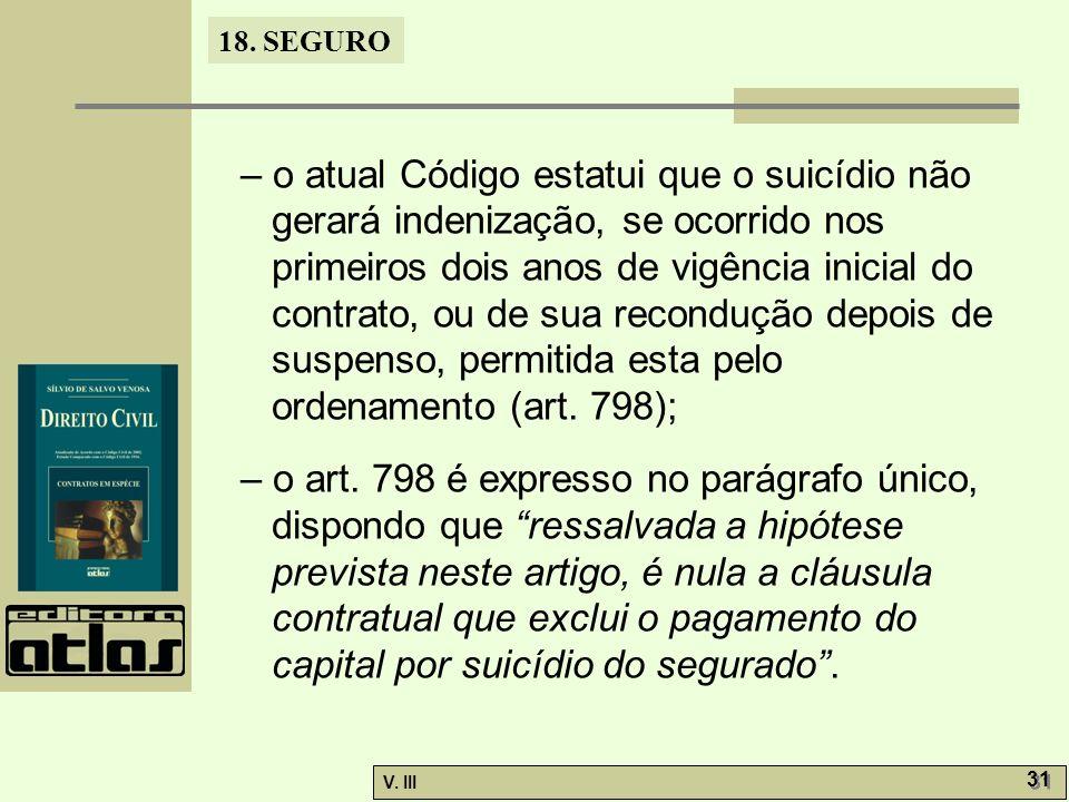 18. SEGURO V. III 31 – o atual Código estatui que o suicídio não gerará indenização, se ocorrido nos primeiros dois anos de vigência inicial do contra