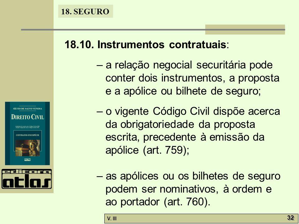 18. SEGURO V. III 32 18.10. Instrumentos contratuais: – a relação negocial securitária pode conter dois instrumentos, a proposta e a apólice ou bilhet