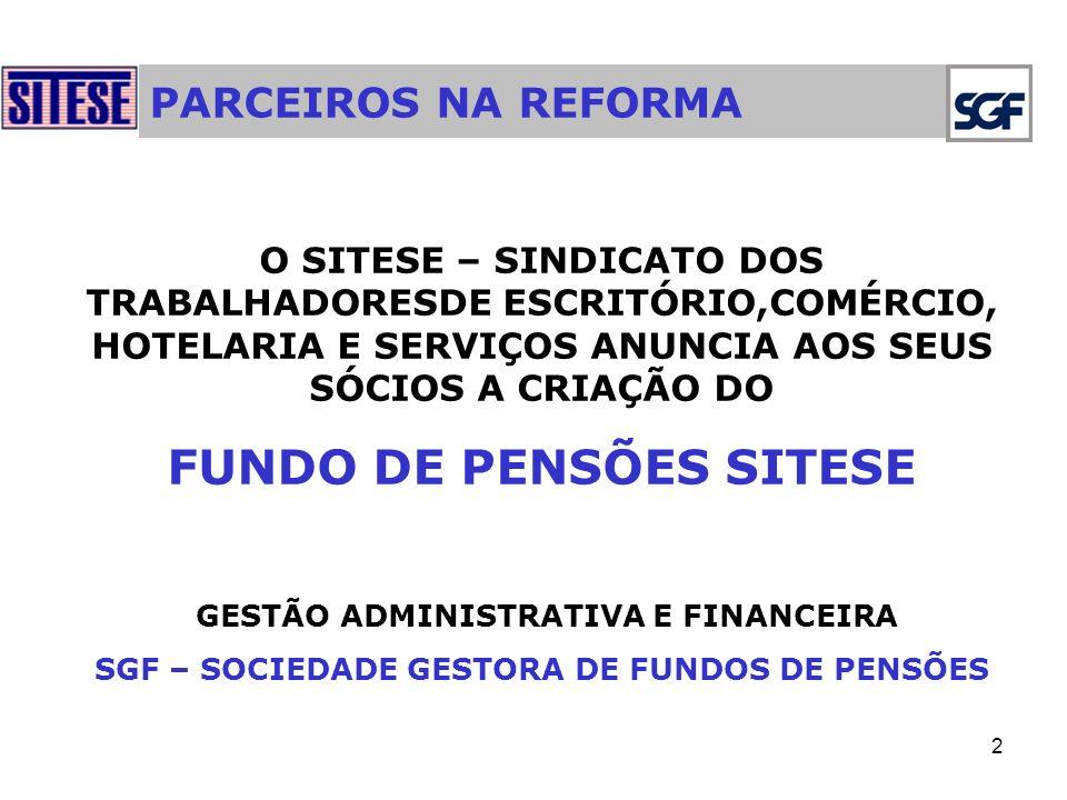2 PARCEIROS NA REFORMA O SITESE – SINDICATO DOS TRABALHADORESDE ESCRITÓRIO,COMÉRCIO, HOTELARIA E SERVIÇOS ANUNCIA AOS SEUS SÓCIOS A CRIAÇÃO DO FUNDO DE PENSÕES SITESE GESTÃO ADMINISTRATIVA E FINANCEIRA SGF – SOCIEDADE GESTORA DE FUNDOS DE PENSÕES
