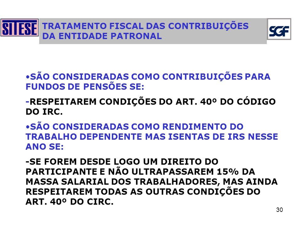 30 TRATAMENTO FISCAL DAS CONTRIBUIÇÕES DA ENTIDADE PATRONAL SÃO CONSIDERADAS COMO CONTRIBUIÇÕES PARA FUNDOS DE PENSÕES SE: -RESPEITAREM CONDIÇÕES DO ART.