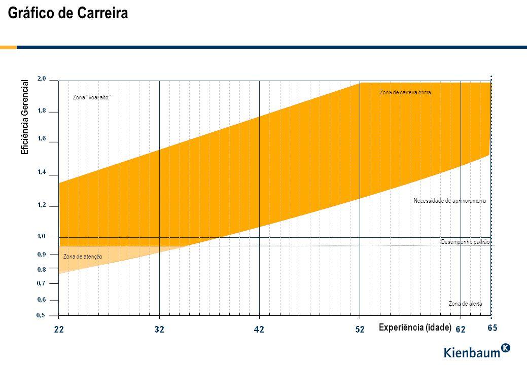 Gráfico de Carreira Eficiência Gerencial Necessidade de aprimoramento Zona de alerta Zona de carreira ótima Zona voar alto