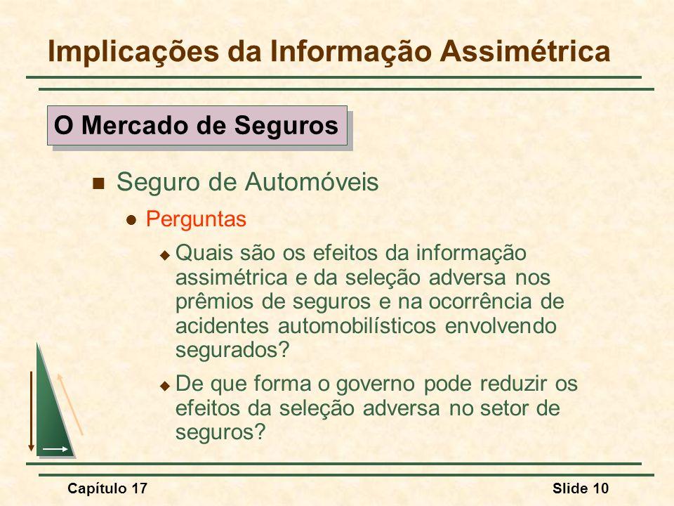 Capítulo 17Slide 10 Implicações da Informação Assimétrica Seguro de Automóveis Perguntas Quais são os efeitos da informação assimétrica e da seleção a