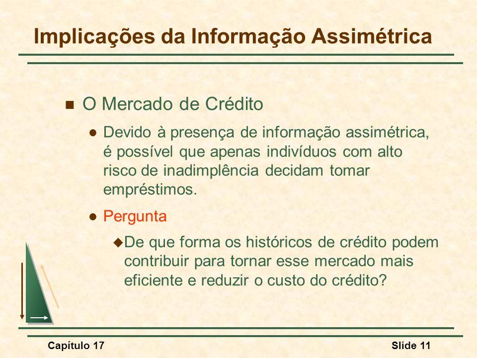 Capítulo 17Slide 11 Implicações da Informação Assimétrica O Mercado de Crédito Devido à presença de informação assimétrica, é possível que apenas indi