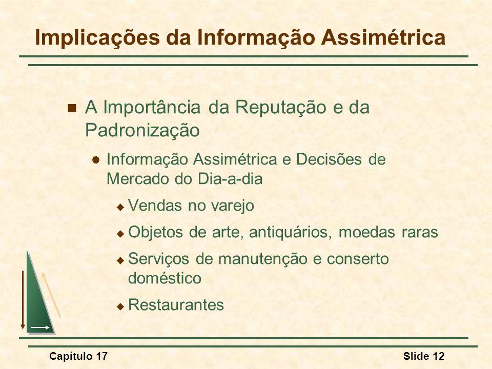 Capítulo 17Slide 12 Implicações da Informação Assimétrica A Importância da Reputação e da Padronização Informação Assimétrica e Decisões de Mercado do