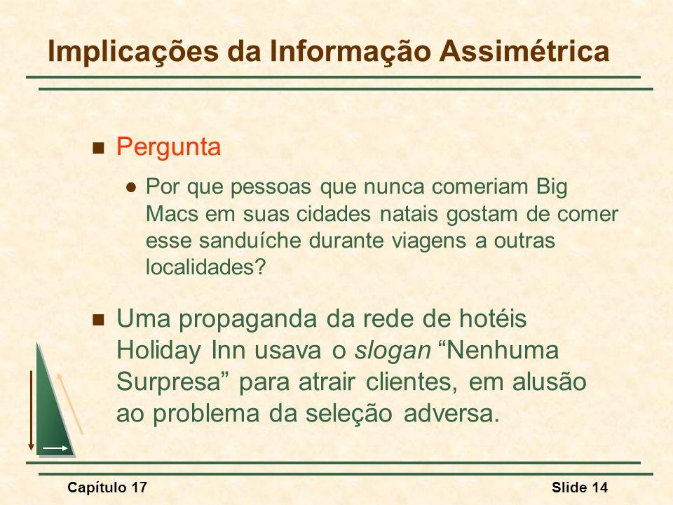 Capítulo 17Slide 14 Implicações da Informação Assimétrica Pergunta Por que pessoas que nunca comeriam Big Macs em suas cidades natais gostam de comer