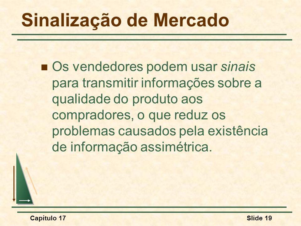 Capítulo 17Slide 19 Sinalização de Mercado Os vendedores podem usar sinais para transmitir informações sobre a qualidade do produto aos compradores, o