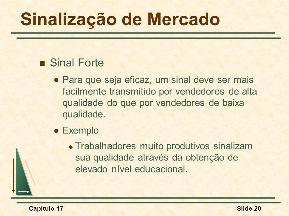 Capítulo 17Slide 20 Sinalização de Mercado Sinal Forte Para que seja eficaz, um sinal deve ser mais facilmente transmitido por vendedores de alta qual