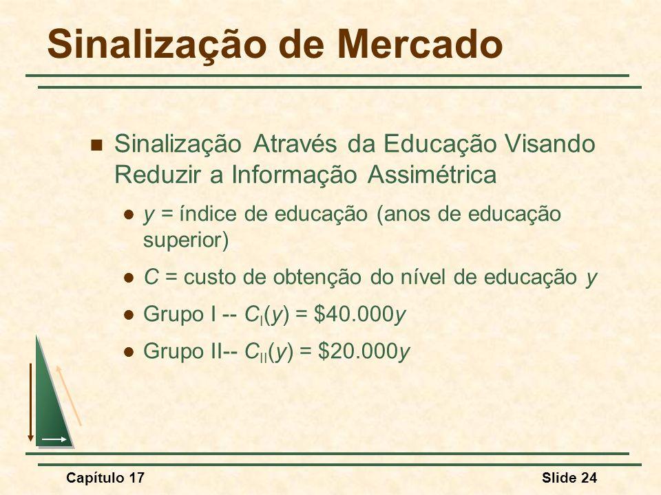 Capítulo 17Slide 24 Sinalização de Mercado Sinalização Através da Educação Visando Reduzir a Informação Assimétrica y = índice de educação (anos de ed