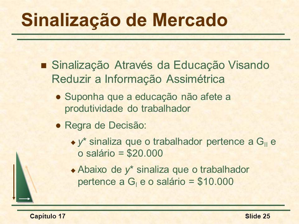 Capítulo 17Slide 25 Sinalização de Mercado Sinalização Através da Educação Visando Reduzir a Informação Assimétrica Suponha que a educação não afete a