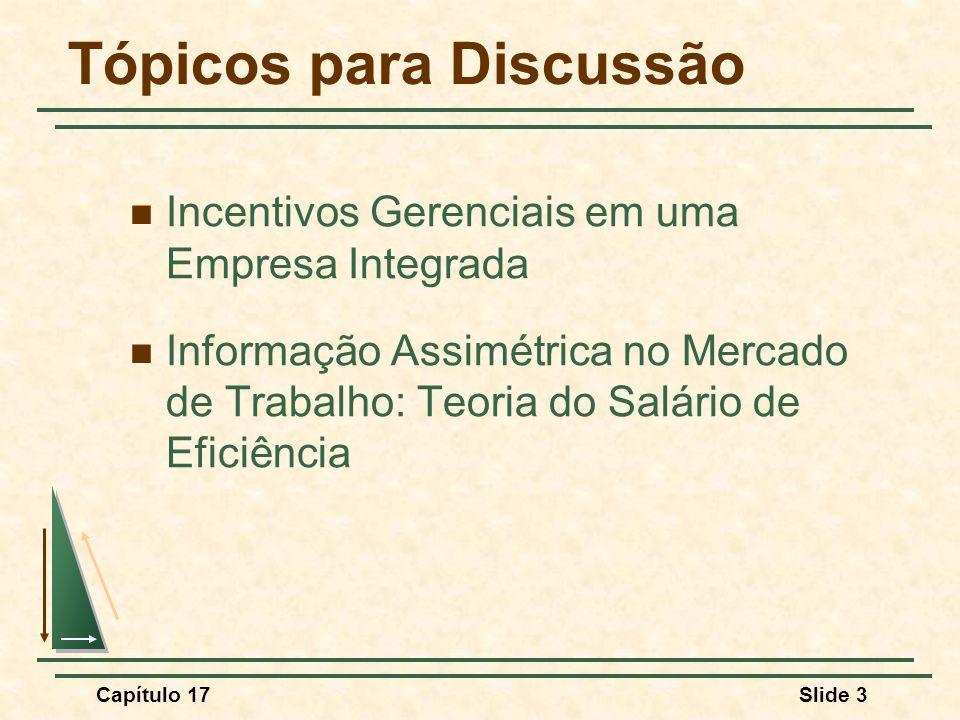 Capítulo 17Slide 3 Tópicos para Discussão Incentivos Gerenciais em uma Empresa Integrada Informação Assimétrica no Mercado de Trabalho: Teoria do Salá