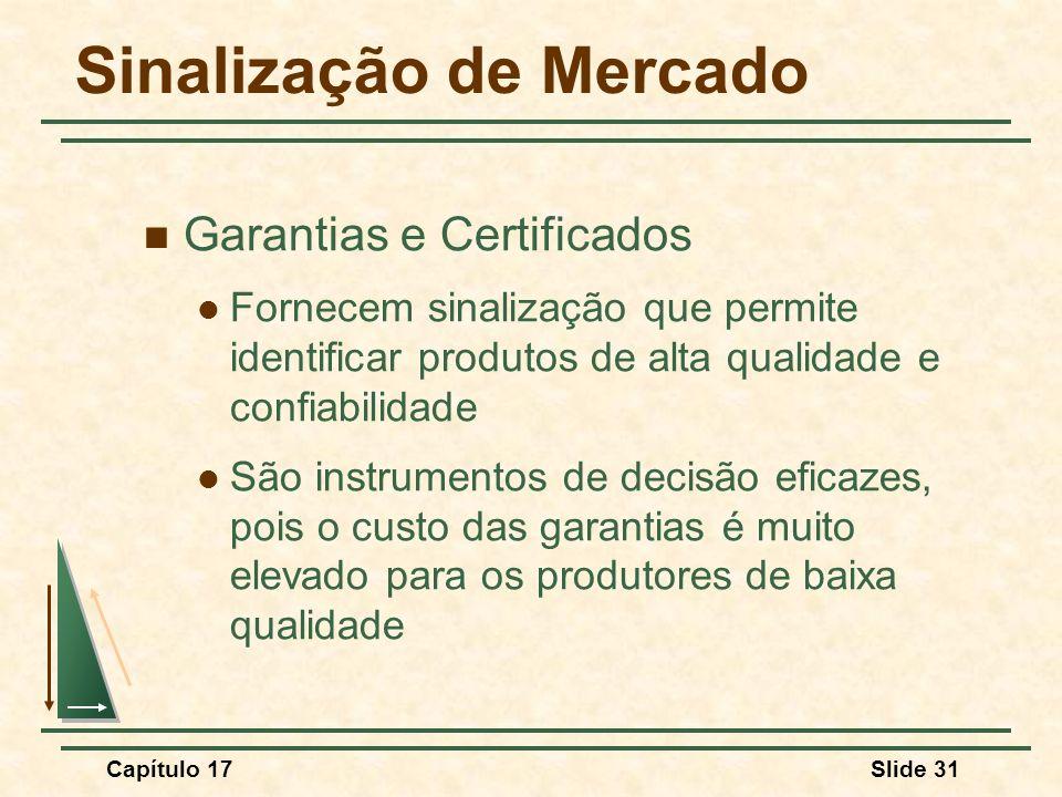 Capítulo 17Slide 31 Sinalização de Mercado Garantias e Certificados Fornecem sinalização que permite identificar produtos de alta qualidade e confiabi