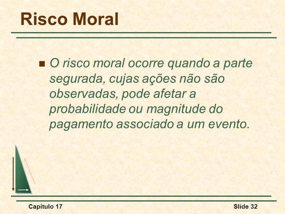 Capítulo 17Slide 32 Risco Moral O risco moral ocorre quando a parte segurada, cujas ações não são observadas, pode afetar a probabilidade ou magnitude