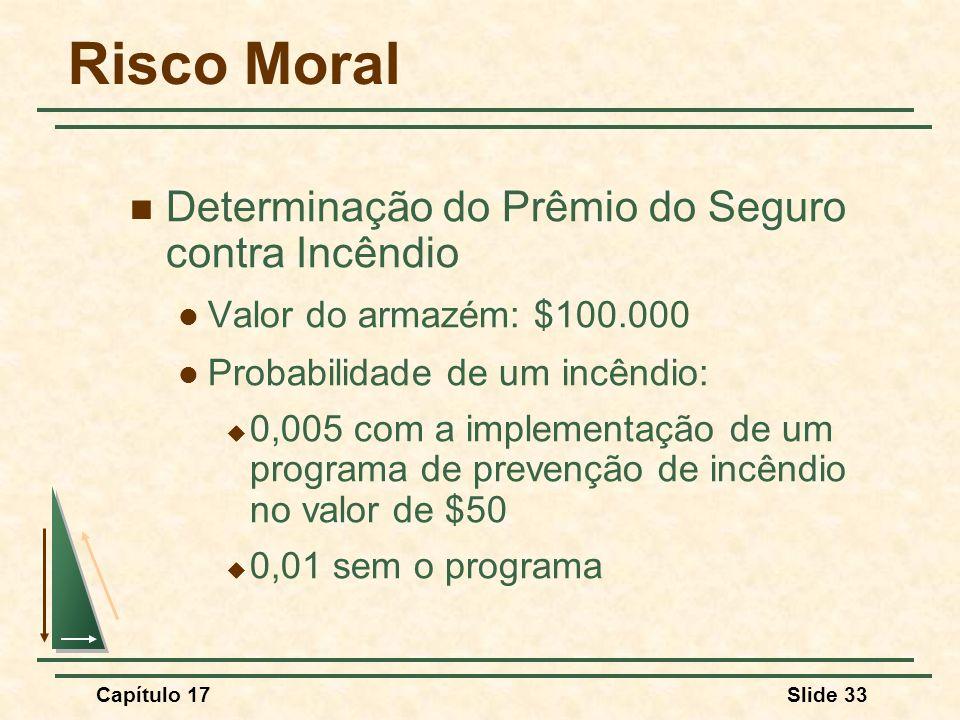 Capítulo 17Slide 33 Risco Moral Determinação do Prêmio do Seguro contra Incêndio Valor do armazém: $100.000 Probabilidade de um incêndio: 0,005 com a