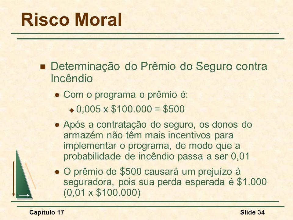 Capítulo 17Slide 34 Risco Moral Determinação do Prêmio do Seguro contra Incêndio Com o programa o prêmio é: 0,005 x $100.000 = $500 Após a contratação