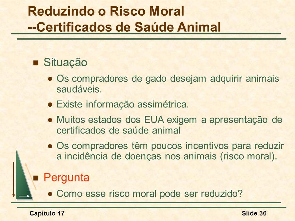 Capítulo 17Slide 36 Reduzindo o Risco Moral --Certificados de Saúde Animal Situação Os compradores de gado desejam adquirir animais saudáveis. Existe