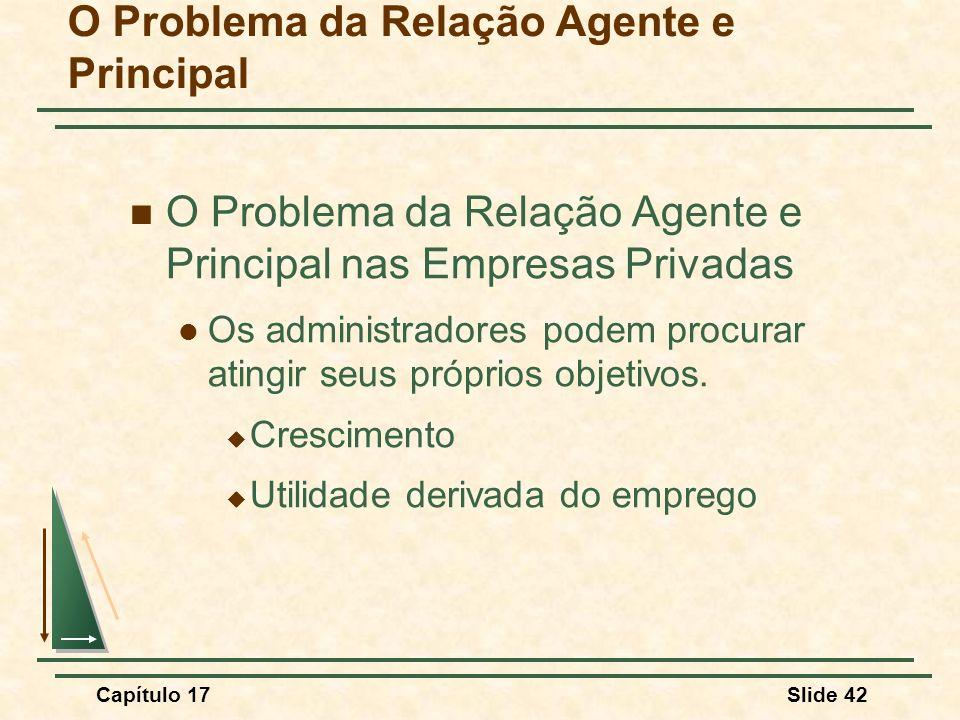 Capítulo 17Slide 42 O Problema da Relação Agente e Principal O Problema da Relação Agente e Principal nas Empresas Privadas Os administradores podem p