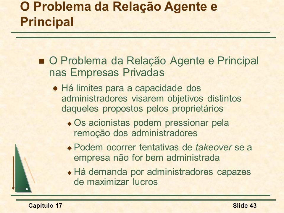 Capítulo 17Slide 43 O Problema da Relação Agente e Principal O Problema da Relação Agente e Principal nas Empresas Privadas Há limites para a capacida