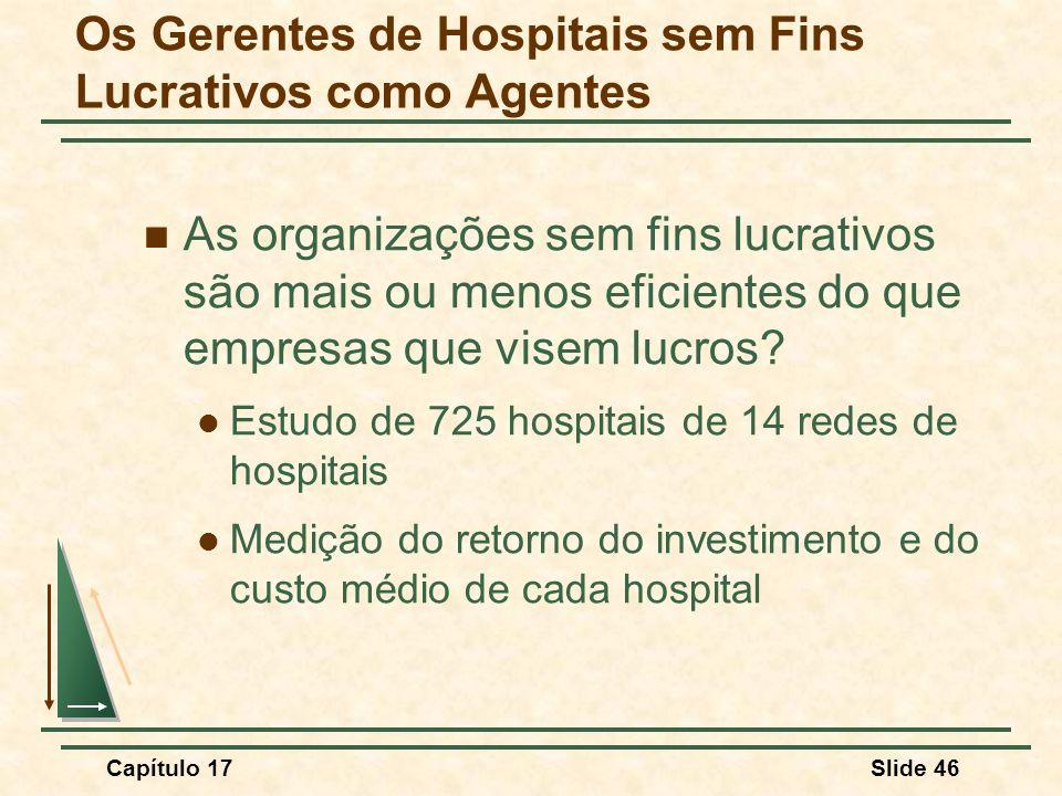 Capítulo 17Slide 46 Os Gerentes de Hospitais sem Fins Lucrativos como Agentes As organizações sem fins lucrativos são mais ou menos eficientes do que