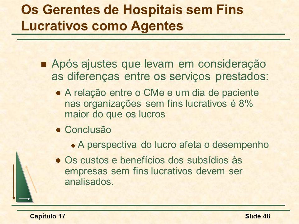 Capítulo 17Slide 48 Após ajustes que levam em consideração as diferenças entre os serviços prestados: A relação entre o CMe e um dia de paciente nas o