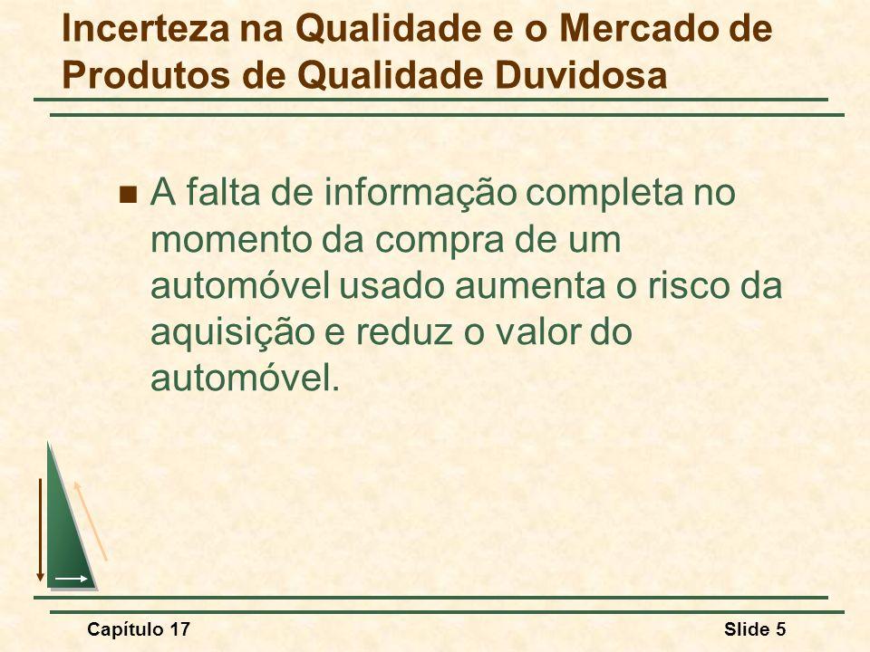 Capítulo 17Slide 5 Incerteza na Qualidade e o Mercado de Produtos de Qualidade Duvidosa A falta de informação completa no momento da compra de um auto