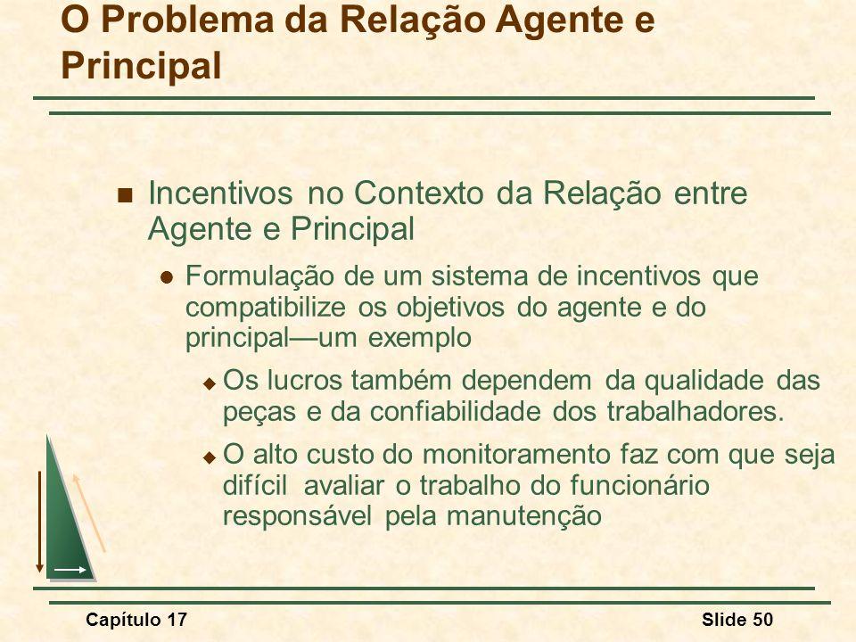 Capítulo 17Slide 50 O Problema da Relação Agente e Principal Incentivos no Contexto da Relação entre Agente e Principal Formulação de um sistema de in
