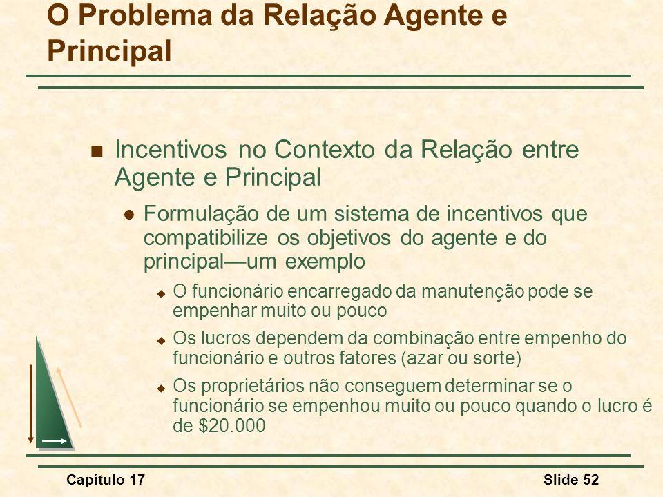 Capítulo 17Slide 52 O Problema da Relação Agente e Principal Incentivos no Contexto da Relação entre Agente e Principal Formulação de um sistema de in