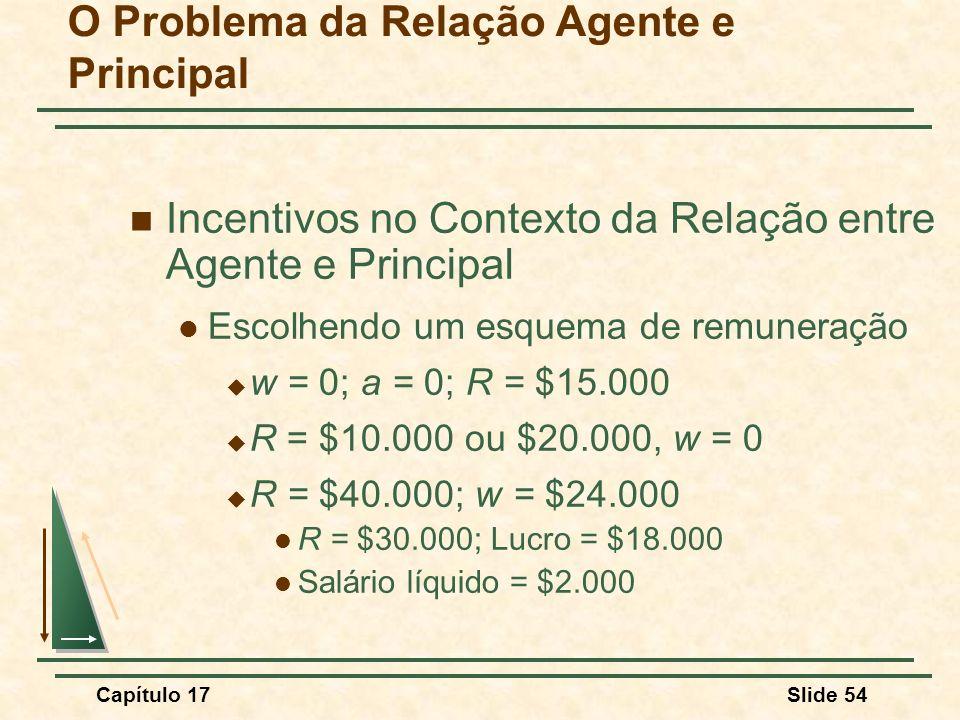 Capítulo 17Slide 54 O Problema da Relação Agente e Principal Incentivos no Contexto da Relação entre Agente e Principal Escolhendo um esquema de remun
