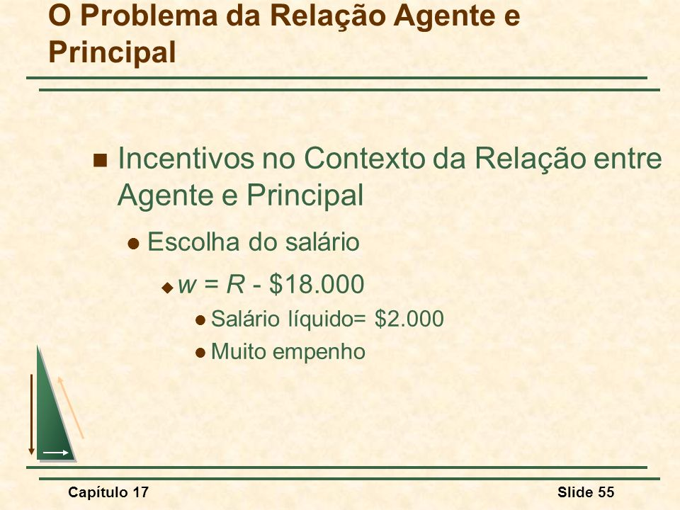 Capítulo 17Slide 55 O Problema da Relação Agente e Principal Incentivos no Contexto da Relação entre Agente e Principal Escolha do salário w = R - $18