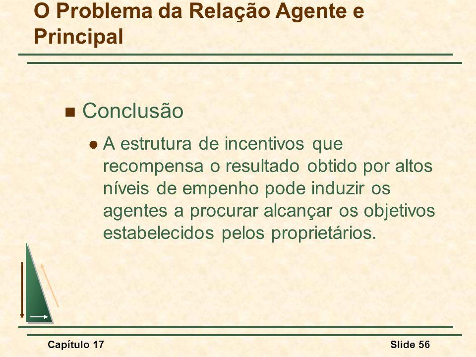 Capítulo 17Slide 56 O Problema da Relação Agente e Principal Conclusão A estrutura de incentivos que recompensa o resultado obtido por altos níveis de