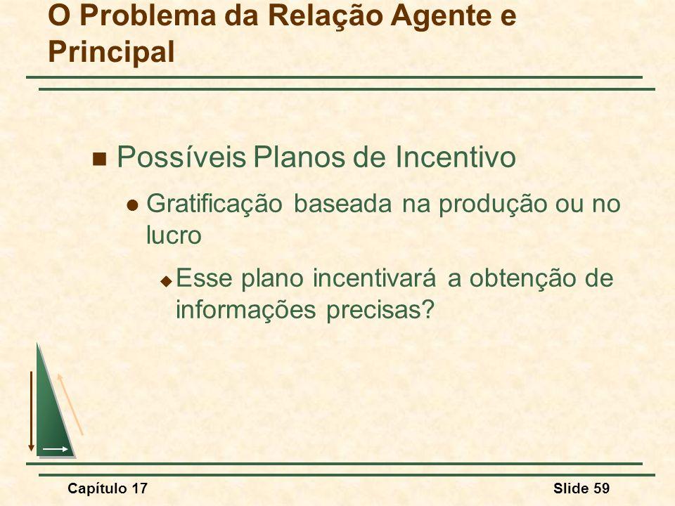Capítulo 17Slide 59 O Problema da Relação Agente e Principal Possíveis Planos de Incentivo Gratificação baseada na produção ou no lucro Esse plano inc