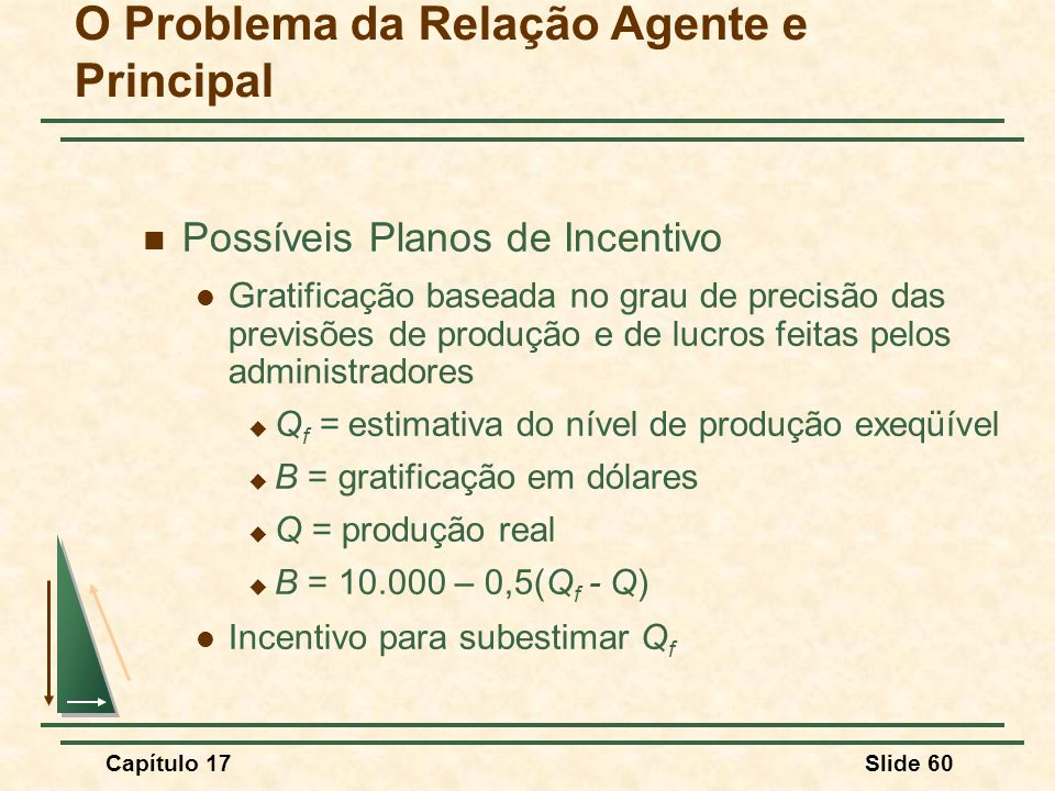 Capítulo 17Slide 60 O Problema da Relação Agente e Principal Possíveis Planos de Incentivo Gratificação baseada no grau de precisão das previsões de p