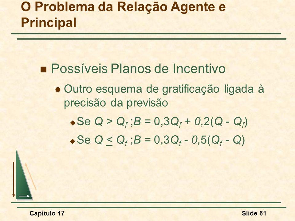 Capítulo 17Slide 61 O Problema da Relação Agente e Principal Possíveis Planos de Incentivo Outro esquema de gratificação ligada à precisão da previsão
