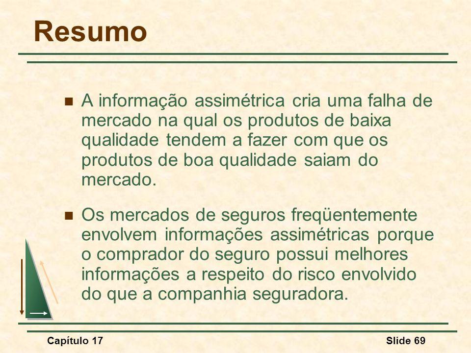Capítulo 17Slide 69 Resumo A informação assimétrica cria uma falha de mercado na qual os produtos de baixa qualidade tendem a fazer com que os produto