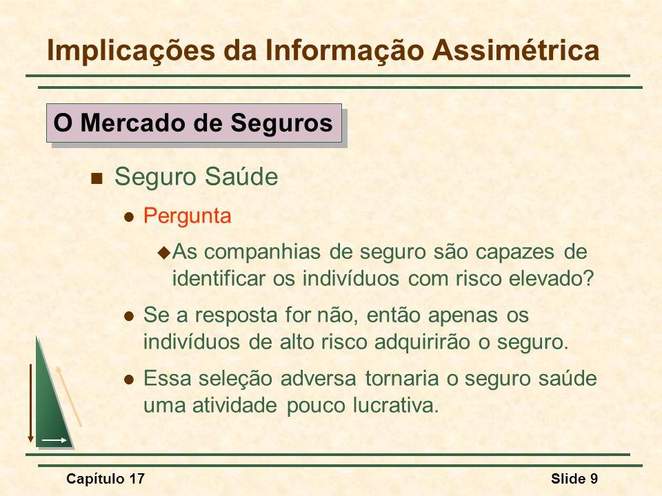 Capítulo 17Slide 9 Implicações da Informação Assimétrica Seguro Saúde Pergunta As companhias de seguro são capazes de identificar os indivíduos com ri