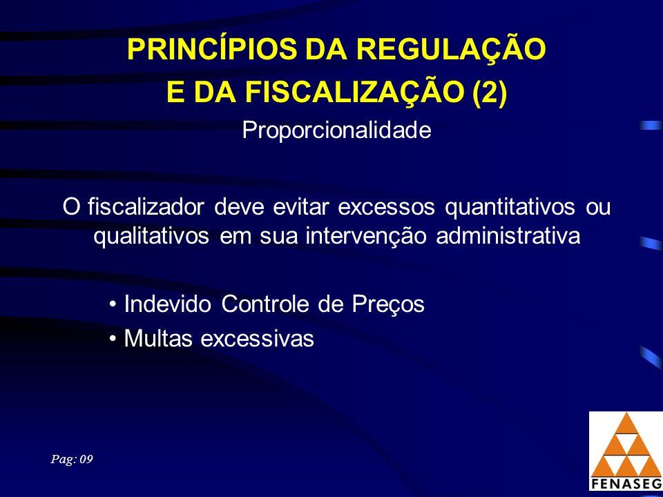 PRINCÍPIOS DA REGULAÇÃO E DA FISCALIZAÇÃO (2) Proporcionalidade O fiscalizador deve evitar excessos quantitativos ou qualitativos em sua intervenção a