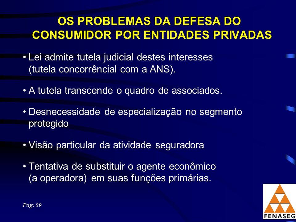 OS PROBLEMAS DA DEFESA DO CONSUMIDOR POR ENTIDADES PRIVADAS Lei admite tutela judicial destes interesses (tutela concorrêncial com a ANS).