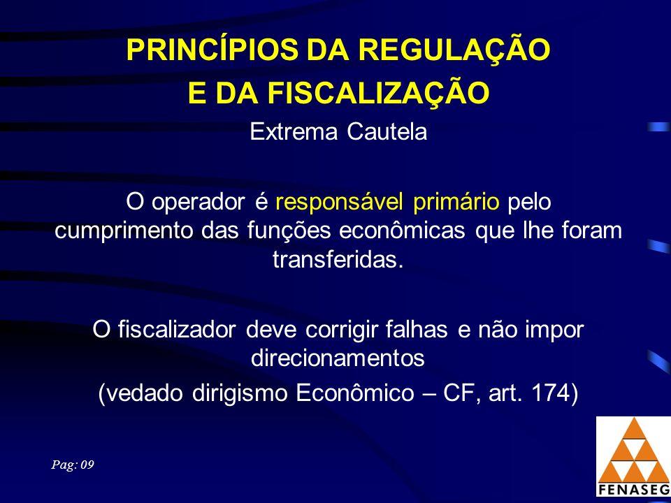 PRINCÍPIOS DA REGULAÇÃO E DA FISCALIZAÇÃO Extrema Cautela O operador é responsável primário pelo cumprimento das funções econômicas que lhe foram transferidas.