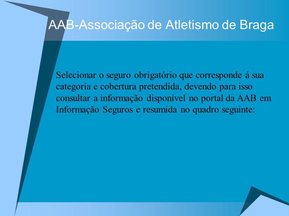 AAB-Associação de Atletismo de Braga Selecionar o seguro obrigatório que corresponde á sua categoria e cobertura pretendida, devendo para isso consult