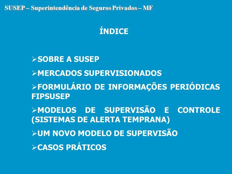 SUSEP – Superintendência de Seguros Privados – MF SUSEP – Superintendência de Seguros Privados – MF ÍNDICE SOBRE A SUSEP MERCADOS SUPERVISIONADOS FORM