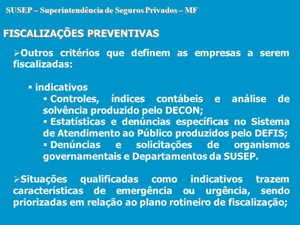 SUSEP – Superintendência de Seguros Privados – MF FISCALIZAÇÕES PREVENTIVAS SUSEP – Superintendência de Seguros Privados – MF FISCALIZAÇÕES PREVENTIVA