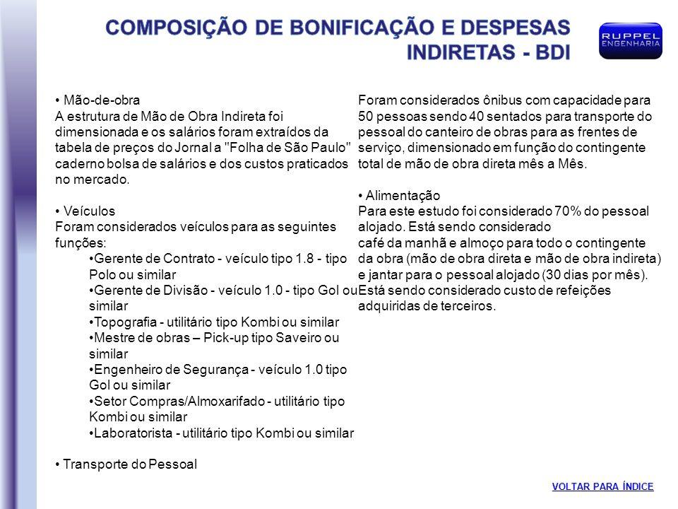 Mão-de-obra A estrutura de Mão de Obra Indireta foi dimensionada e os salários foram extraídos da tabela de preços do Jornal a Folha de São Paulo caderno bolsa de salários e dos custos praticados no mercado.