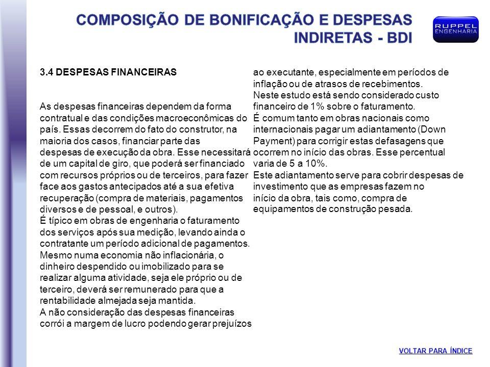 3.4 DESPESAS FINANCEIRAS As despesas financeiras dependem da forma contratual e das condições macroeconômicas do país.