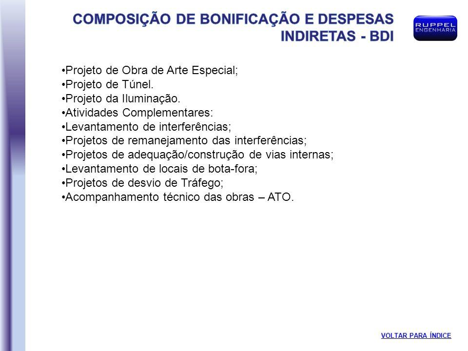 Projeto de Obra de Arte Especial; Projeto de Túnel.