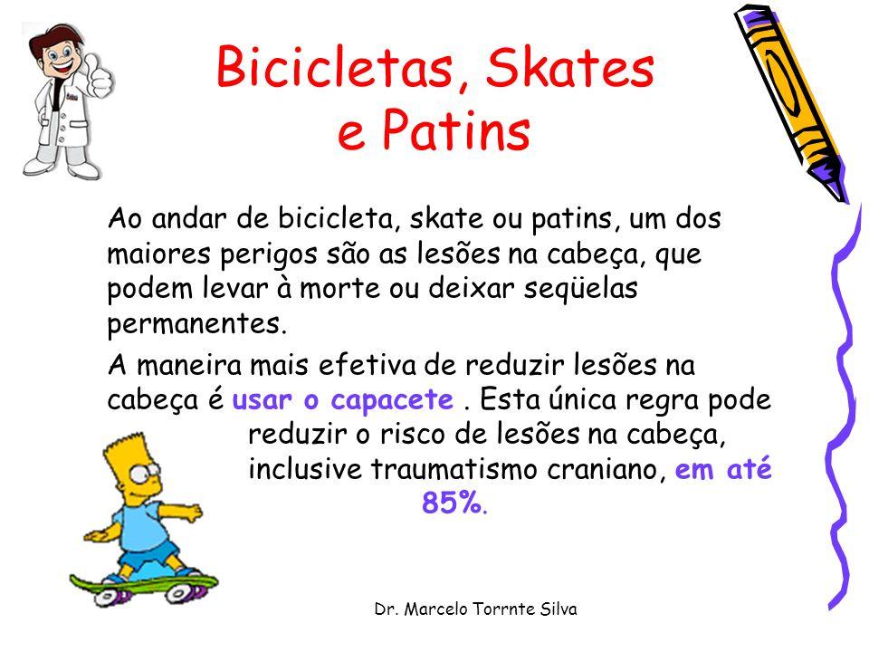 Dr. Marcelo Torrnte Silva Bicicletas, Skates e Patins Ao andar de bicicleta, skate ou patins, um dos maiores perigos são as lesões na cabeça, que pode