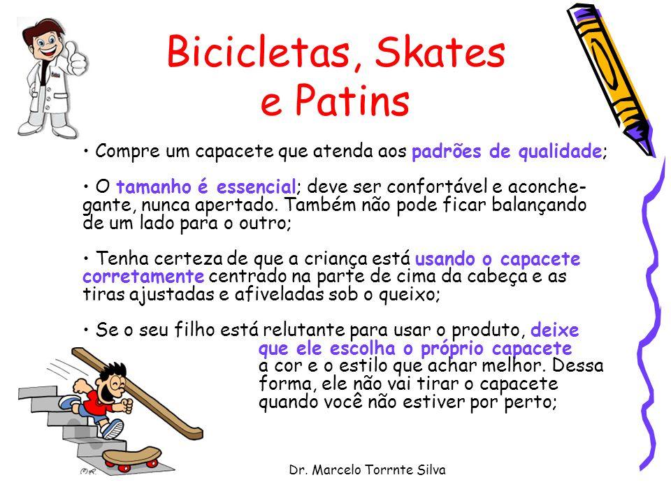 Dr. Marcelo Torrnte Silva Bicicletas, Skates e Patins Compre um capacete que atenda aos padrões de qualidade; O tamanho é essencial; deve ser confortá