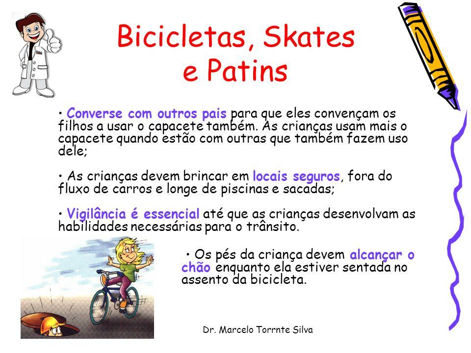 Dr. Marcelo Torrnte Silva Bicicletas, Skates e Patins Converse com outros pais para que eles convençam os filhos a usar o capacete também. As crianças