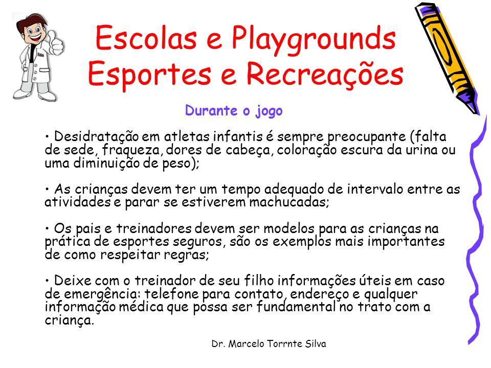 Dr. Marcelo Torrnte Silva Escolas e Playgrounds Esportes e Recreações Durante o jogo Desidratação em atletas infantis é sempre preocupante (falta de s