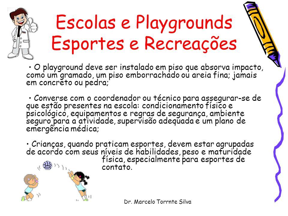 Dr. Marcelo Torrnte Silva Escolas e Playgrounds Esportes e Recreações O playground deve ser instalado em piso que absorva impacto, como um gramado, um