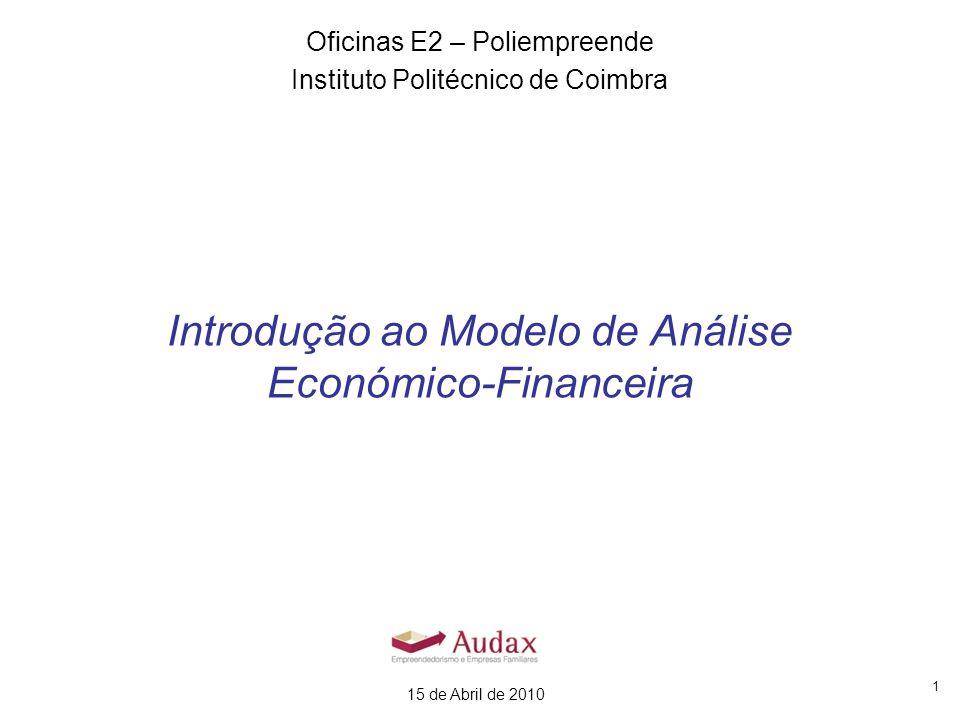 1 Introdução ao Modelo de Análise Económico-Financeira Oficinas E2 – Poliempreende Instituto Politécnico de Coimbra 15 de Abril de 2010